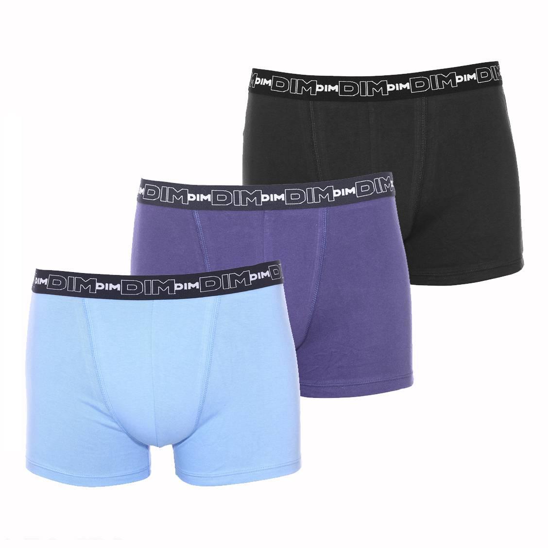Ceinture · Lot de 3 boxers Dim en coton stretch bleu nuit, bleu pastel et  noir a27380cb298