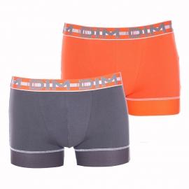 Lot de 2 boxers Dim 3D Stay and Fit en coton stretch orange et gris plomb