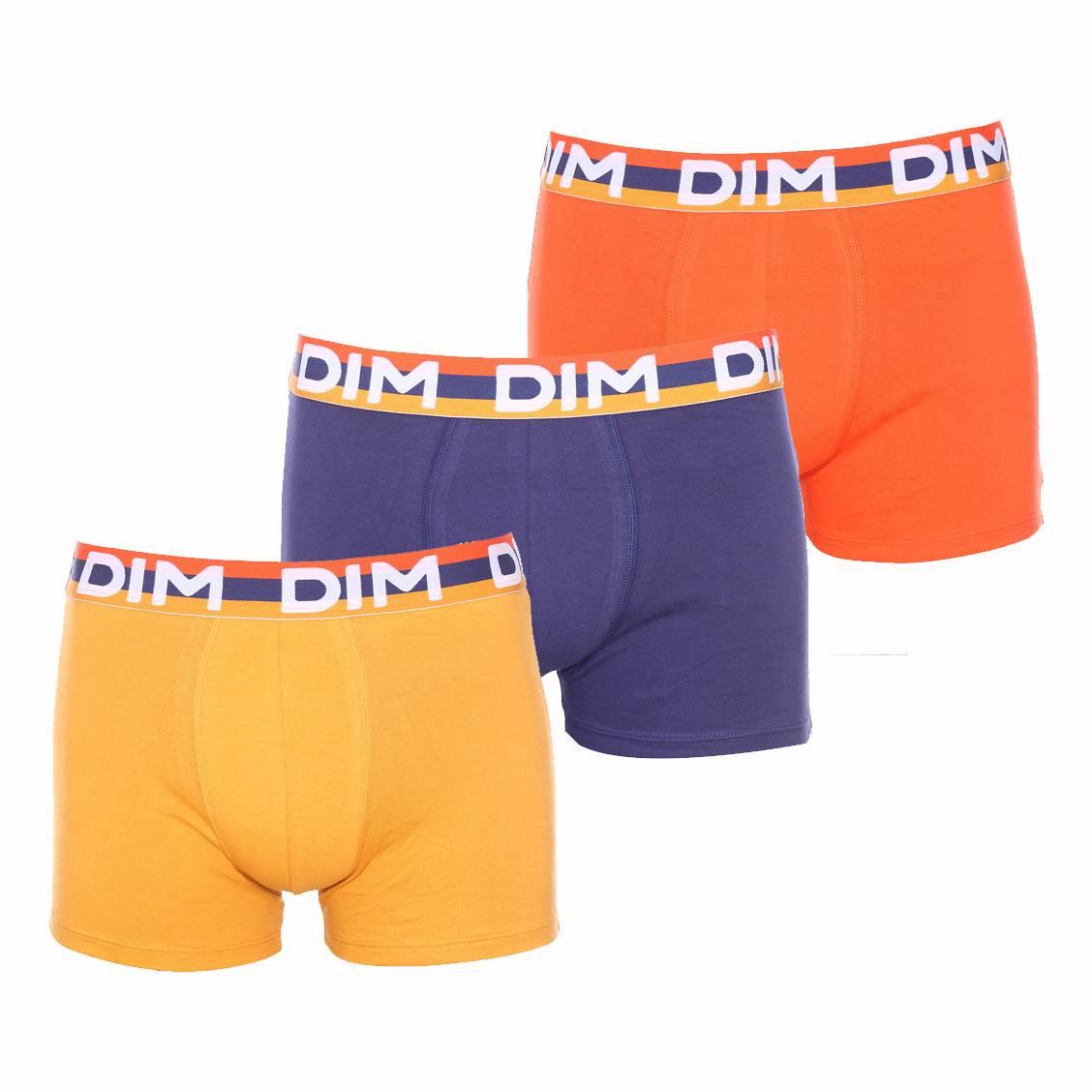 lot de 3 boxers dim color full en coton stretch orange bleu nuit et jaune ambre rue des hommes. Black Bedroom Furniture Sets. Home Design Ideas