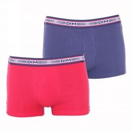 Lot de 2 boxers Dim 3D Flex en coton stretch bleu nuit et rouge