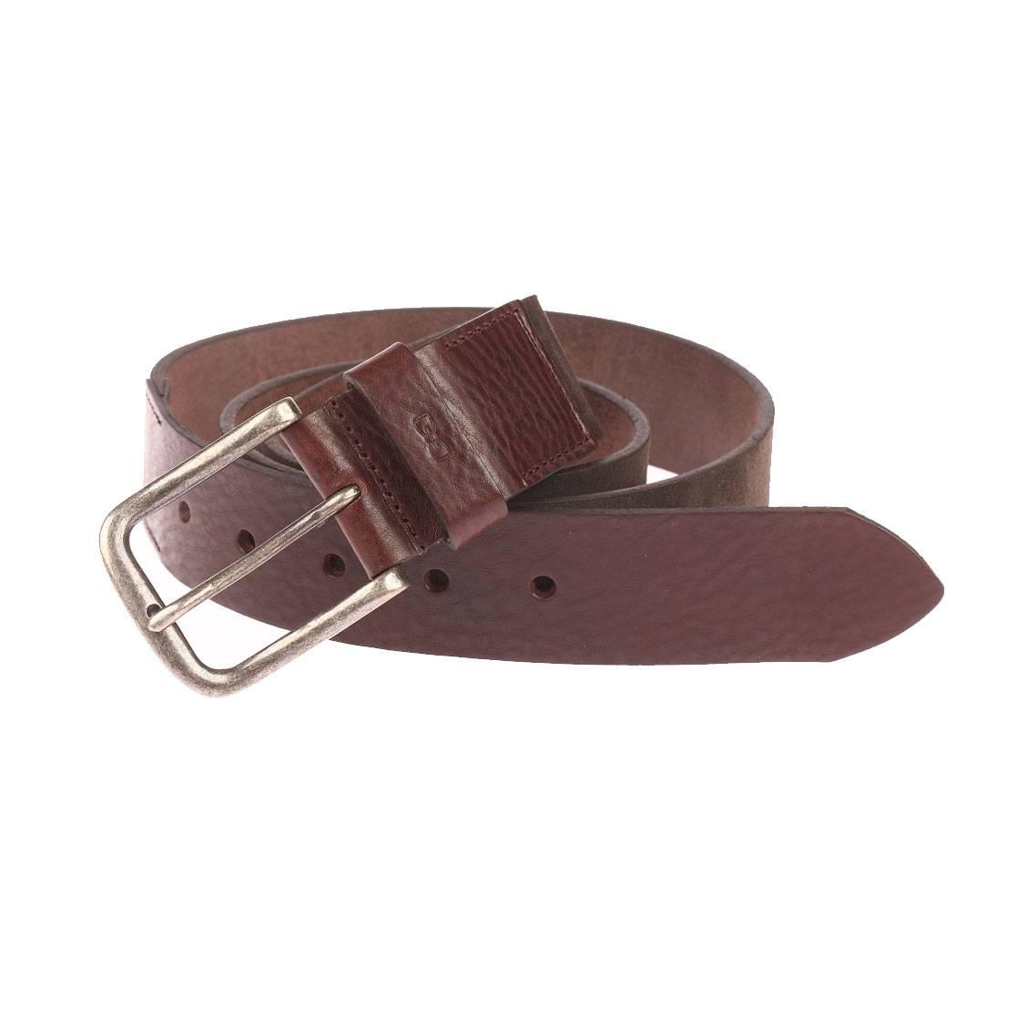 Large ceinture  en cuir suèdé et en cuir texturé marron