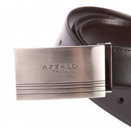 Coffret cadeau Azzaro Made in France : Ceinture ajustable noire réversible marron à boucles classique et boucle pleine argentée