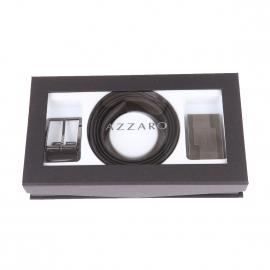 Coffret cadeau Azzaro Made in France : Ceinture ajustable noire réversible à boucles rectangulaire chromée et boucle pleine graphique
