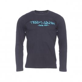 Tee-shirt manches longues Ticlass Teddy Smith noir floqué en bleu azur
