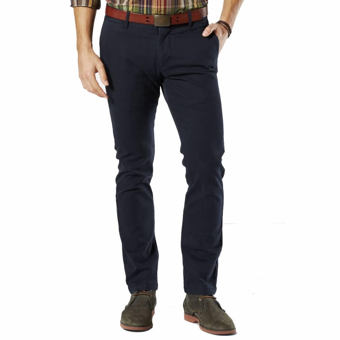Pantalon pacific washed khaki slim tapered  en twill bleu marine