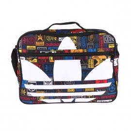 Porte-documents Adidas en toile noire à imprimé logos multicolores