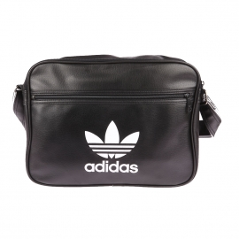 Porte-documents/ ordinateur Adidas en simili cuir noir, logo blanc