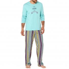 Pyjama long Arthur Versailles : Tee-shirt manches longues turquoise et pantalon à rayures