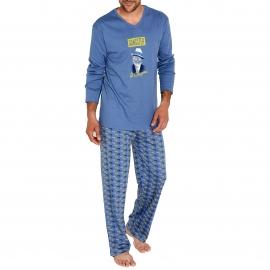 Pyjama chaud Arthur  : Tee-shirt manches longues gris acier et pantalon à imprimés pistolets