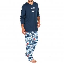 Pyjama chaud Arthur Aspen : Tee-shirt manches longues bleu marine et pantalon à imprimés paysages de montagne