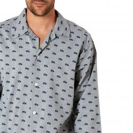 Pyjama long Arthur : Veste boutonnée et pantalon gris à imprimé voitures bleues