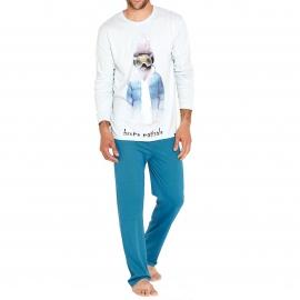 Pyjama long Arthur  : Tee-shirt manches longues bleu clair imprimé d'un bison skieur et pantalon bleu canard à pois