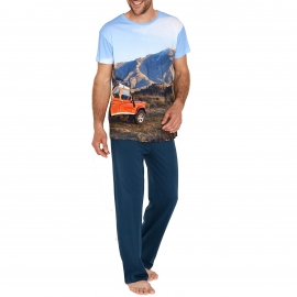 Pyjama long Arthur  : Tee-shirt manches courtes motif 4X4 et paysage et pantalon uni bleu marine