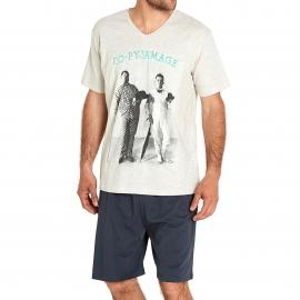 Pyjama court Arthur Co-Pyjamage : Tee-shirt écru à imprimé Laurel et Hardy et bermuda anthracite