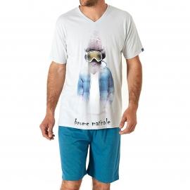 Pyjama court Arthur  : Tee-shirt  bleu clair imprimé d'un bison skieur et bermuda bleu canard à pois