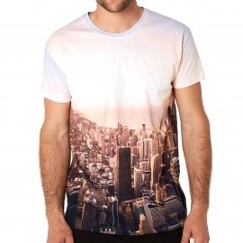 Pyjama court Arthur  : Tee-shirt imprimé vue sur une ville et short noir