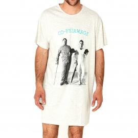 Maxi tee-shirt Arthur Co-pyjamage manches courtes écru à imprimé Laurel et Hardy