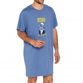 Maxi tee-shirt Arthur bleu gris à motifs Gangster Al Catpone