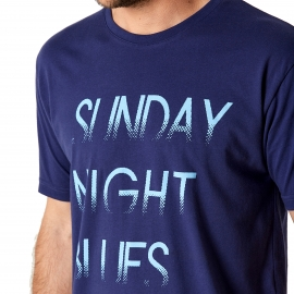 Pyjama court Arthur : Tee-shirt bleu marine imprimé Sunday Night Bleues et caleçon bleu marine à imprimés