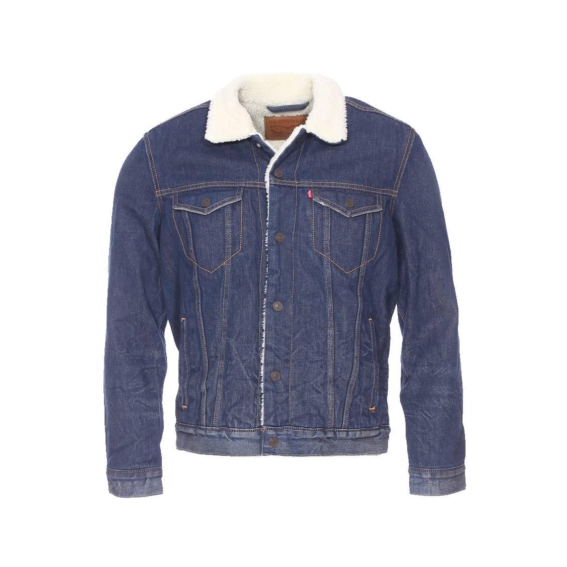 blouson en jean levi 39 s buckman bleu fonc avec doublure effet peau de mouton rue des hommes. Black Bedroom Furniture Sets. Home Design Ideas