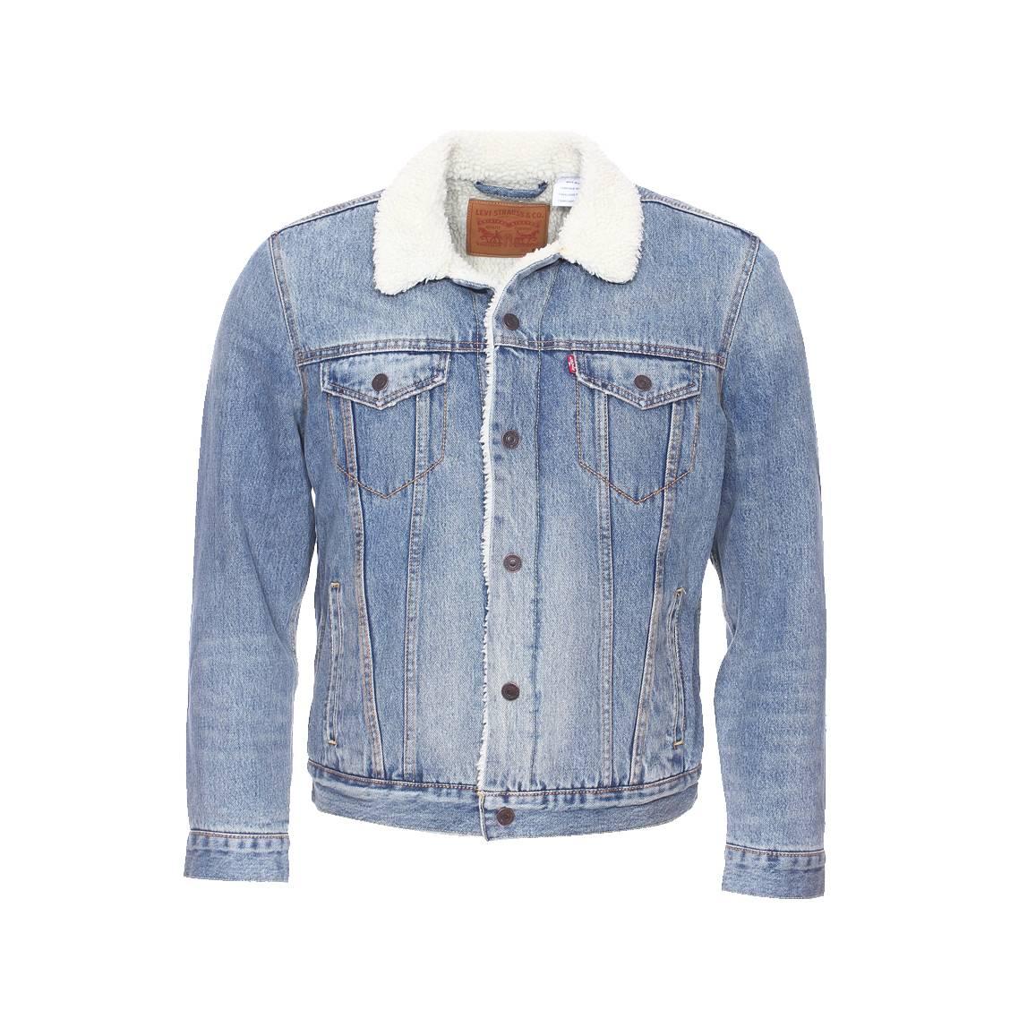 blouson en jean levi 39 s buckman bleu clair avec doublure effet peau de mouton rue des hommes. Black Bedroom Furniture Sets. Home Design Ideas