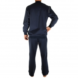 Tenue d'intérieur Randy Christian Cane : sweat zippé et pantalon bleu encre