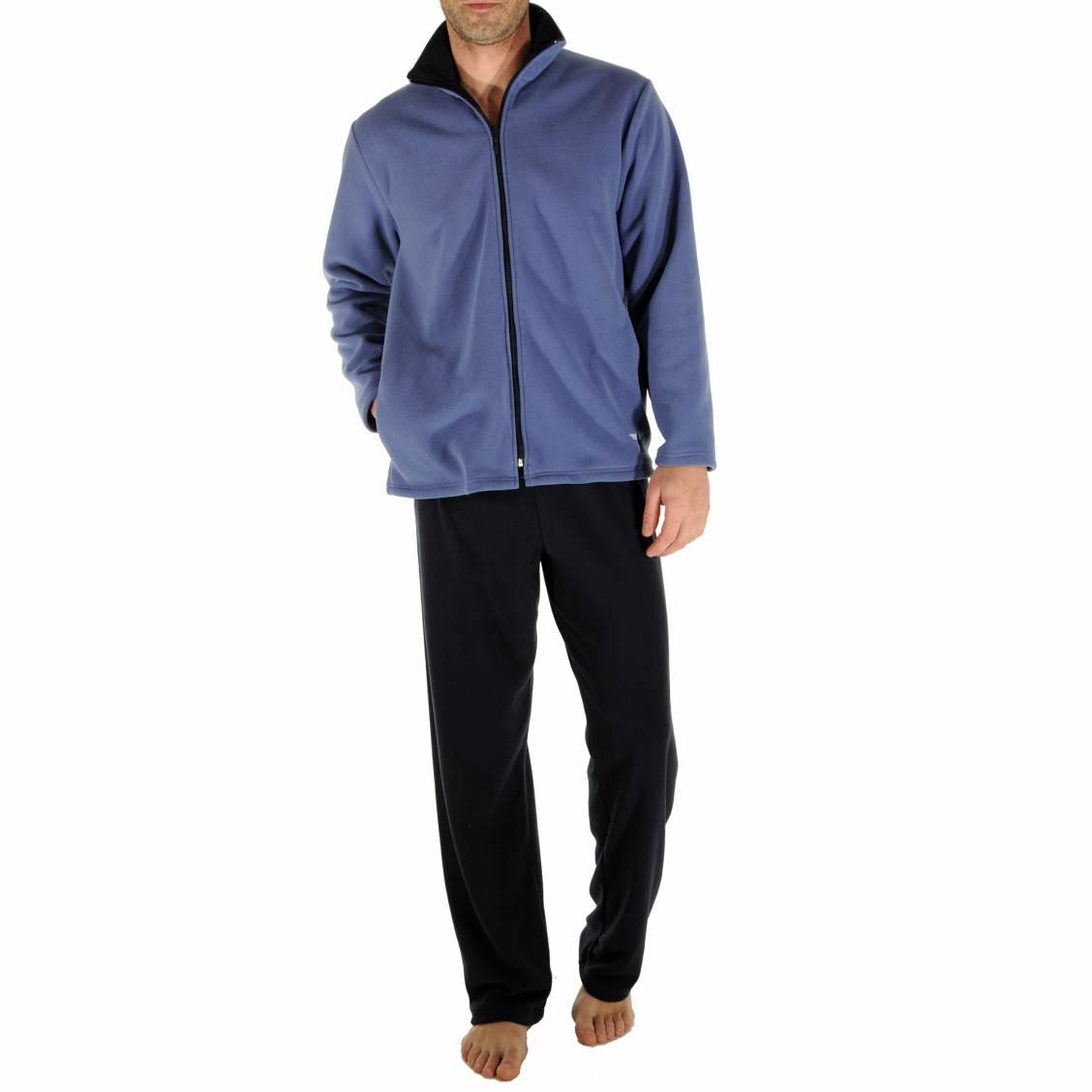 tenue d 39 int rieur en polaire ronsard christian cane sweat zipp bleu encre et pantalon bleu. Black Bedroom Furniture Sets. Home Design Ideas