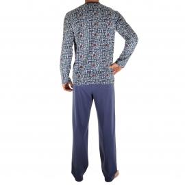 Pyjama long Ravel Christian Cane en coton : tee-shirt manches longues col V bleu encre à motifs blancs et rouges, pantalon bleu encre