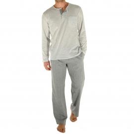 Pyjama long Romeo Christian Cane : tee-shirt manches longues col tunisien gris clair, pantalon gris à pois blancs