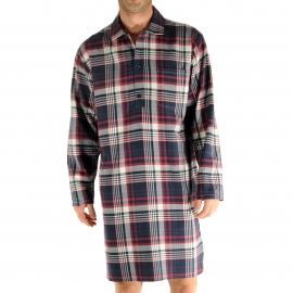 Liquette chemise Redcastle Christian Cane en coton à carreaux bordeaux, blancs et bleu marine