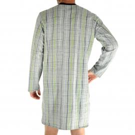 Liquette Rick Christian Cane en coton à carreaux graphiques gris clair, noirs et vert anis