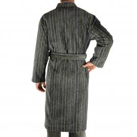Kimono long Remi Christian Cane gris anthracite chiné à rayures grises, noires et vert anis