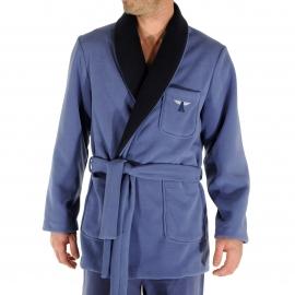 Veste d'intérieur Ronsard Christian Cane en polaire bleu indigo, col châle à bordure bleu marine