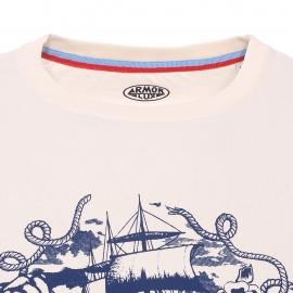 Tee-shirt col rond Armor lux crème imprimé d'un navire