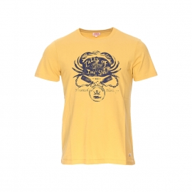Tee-shirt col rond Armor lux jaune moutarde sérigraphié d'un crabe