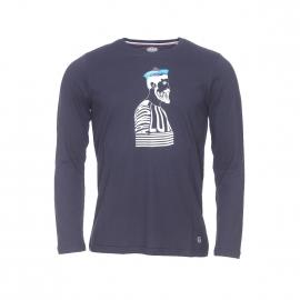 Tee-shirt manches longues Armor lux bleu foncé sérigraphié d'un marin