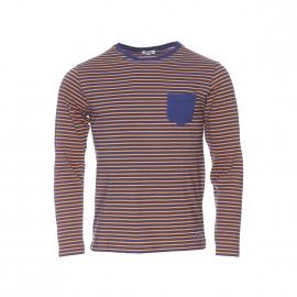 Tee-shirt manches longues Armor lux bleu marine à rayures marron clair, à poches et coudières