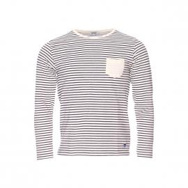 Tee-shirt manches longues Armor lux crème à rayures marine vintage à poches et coudières