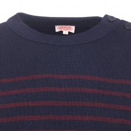 Pull Marin Héritage Armor lux en laine bleu nuit à rayures prune