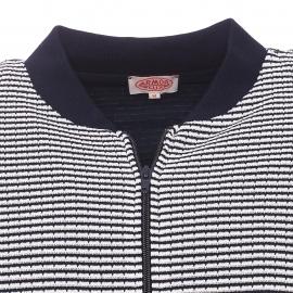 Gilet coupe Teddy Armor Lux en mailles tricotées bleu marine et crème