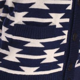 Cardigan boutonné Héritage Armor Lux en laine bleu marine à motifs crème