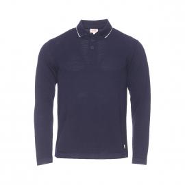 Pull col polo Héritage Armor lux en fines mailles tricotées bleu nuit