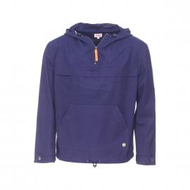 Vareuse zippée à capuche Armor lux 100% coton bleu marine déperlante