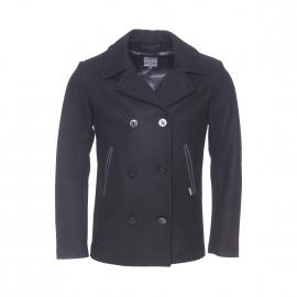 Caban Armor Lux bicolore en drap de laine noir et anthracite