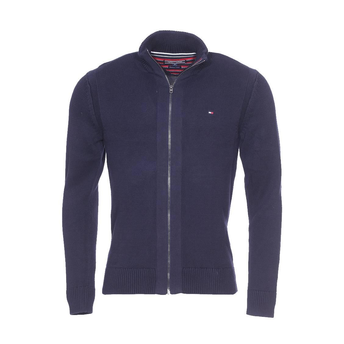 gilet zipp simon tommy hilfiger en mailles tricot es bleu marine rue des hommes. Black Bedroom Furniture Sets. Home Design Ideas