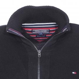 Gilet zippé Simon Tommy Hilfiger en mailles tricotées noires