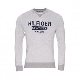 Sweat col rond O'connor Tommy Hilfiger en coton gris chiné logotypé en feutrine