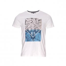 Tee-shirt Sander Tommy Hilfiger blanc cassé à imprimé building