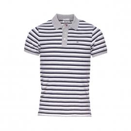 Polo Hilfiger Denim en maille piquée à rayures grises, blanches et bleu marine