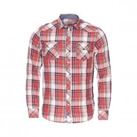 Chemise droite Kaporal à carreaux rouges, beiges et bleu marine